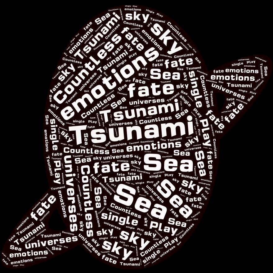 词云图,文字云图,Tsunami Sea  emotions Countless  sky  fate universes single  Play