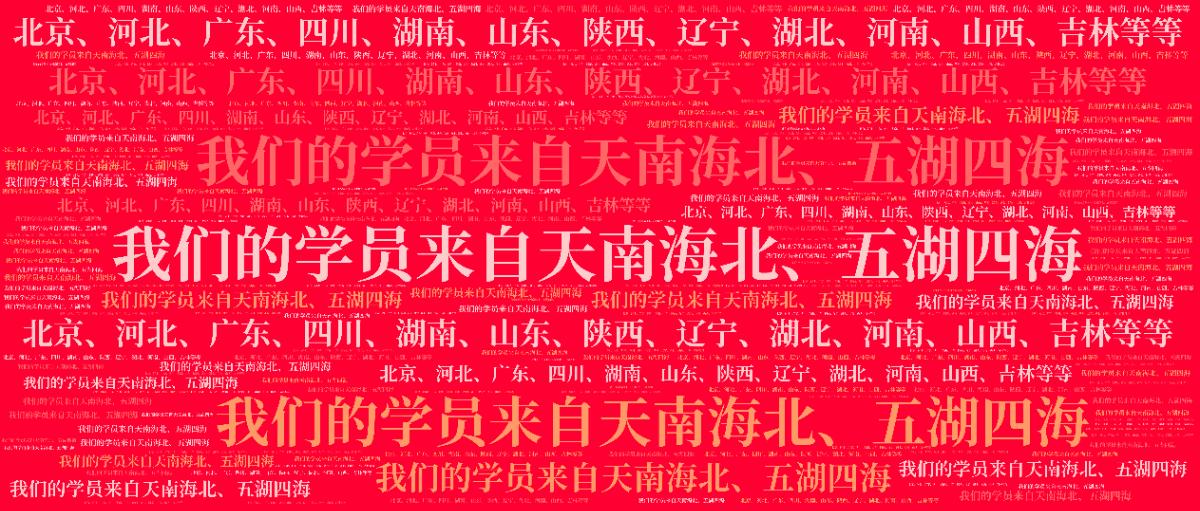 词云图,文字云图,我们的学员来自天南海北、五湖四海 北京、河北、广东、四川、湖南、山东、陕西、辽宁、湖北、河南、山西、吉林等等