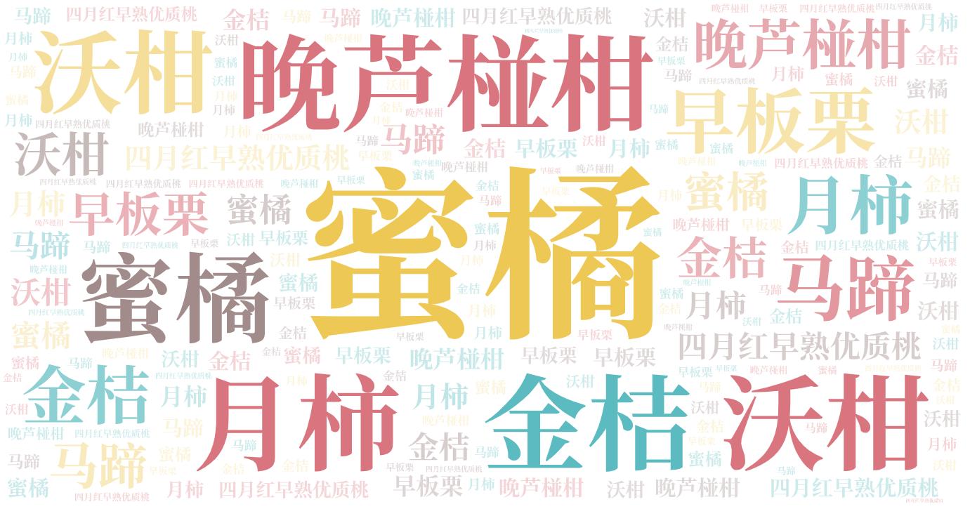 词云图,文字云图,蜜橘 晚芦椪柑 沃柑 金桔 月柿 早板栗 马蹄 四月红早熟优质桃